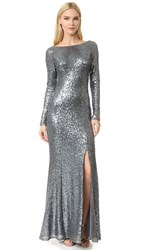 Theia Giselle Bateau Sequin Gown Smoke