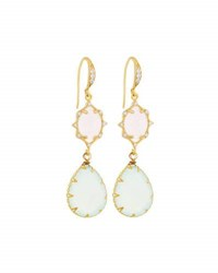 Indulgems Pink Crystal And Chalcedony Double Drop Earrings Multi