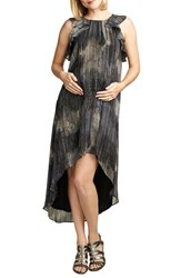 Maternal America Ruffle High Low Chiffon Dress Metallic Lurex Print