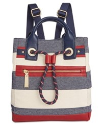 Tommy Hilfiger Small Belen Woven Rugby Backpack Navy Natural