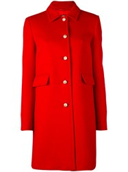 Gucci Single Breasted Coat Women Viscose Wool 44 Red