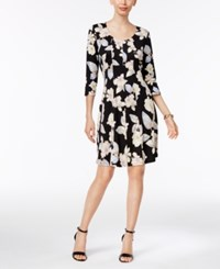 Ny Collection Petite Printed Fit And Flare Dress Blush Latifolia