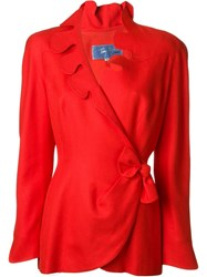 Thierry Mugler Vintage Scalloped Wrap Jacket Red