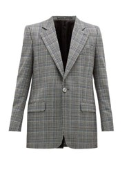 Givenchy Single Breasted Checked Wool Jacket Grey Multi
