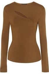 Donna Karan Cutout Stretch Jersey Top Brown