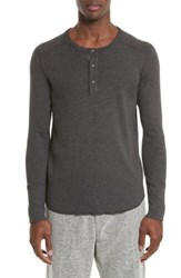 Wings Horns Men's 'Base' Long Sleeve Henley Heather Charcoal