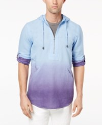 Inc International Concepts I.N.C. Half Zip Linen Blend Hoodie Wild Iris