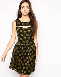 Sugarhill Boutique Polka Party Dress With Cut Outs Blackkhaki