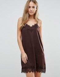 Vila Cami Slip Dress With Lace Detail Chocolate Plum Brown