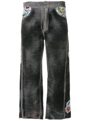 Avant Toi Embroidered Cropped Trousers Black