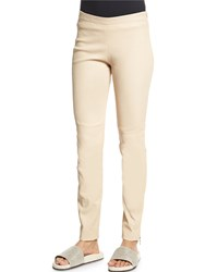 Brunello Cucinelli Ankle Zip Skinny Leather Pants Twine