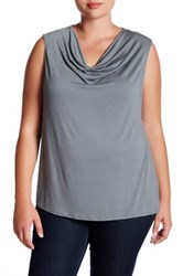 Susina Drape Neck Knit Top Plus Size Gray