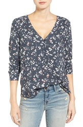 Hinge Women's Shirred Blouse Navy India Ink Clovers