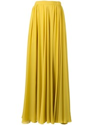 Elie Saab Pleated Slit Maxi Skirt Yellow Orange