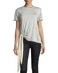 Neiman Marcus Bow Detail Short Sleeve Jersey Tee Light Gray