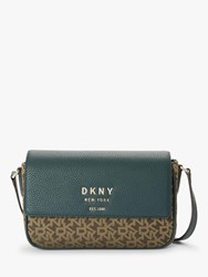 Dkny Noho Logo Medium Flap Cross Body Bag Mocha Twilight