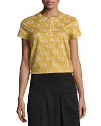 A.P.C. Phillippine Floral Print Top Mustard