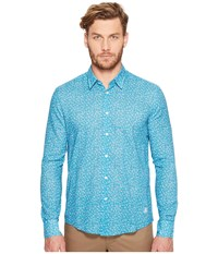 Vilebrequin Micro Turtles Cotton Voile Button Up Blue Men's Clothing