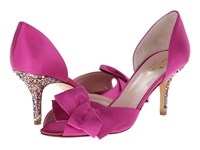 Kate Spade Sala Fuschia Satin Multi Glitter Heel High Heels Pink