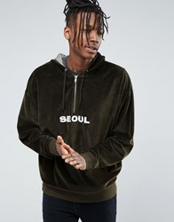 Asos Oversized Hoodie In Velour With Half Zip And Text Embroidery Green