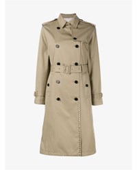 Valentino Rockstud Untitled Trench Coat Beige Silver Linen