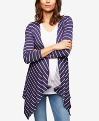 A Pea In The Pod Maternity French Terry Cardigan Navy White Stripe