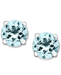 Macy's Aquamarine Stud Earrings In 14K White Gold 1 Ct. T.W.