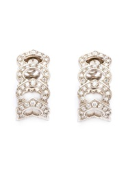 Cartier Vintage Pave Diamond Link Earrings Metallic
