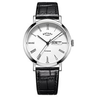 Rotary Gs05300 01 'S Windsor Day Date Leather Strap Watch Black White