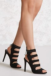 Forever 21 Faux Suede Caged Stiletto Heels