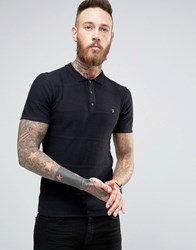 Farah Knitted Polo Shirt With Textured Stripe In Slim Fit Black Black