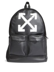 Off White Brushed Leather Arrows Backpack Black White