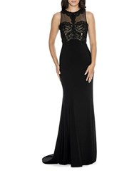 Decode 1.8 Embroidered Fit And Flare Gown Black