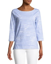 Majestic 3 4 Sleeve Striped Boat Neck Top Angel Blue Blanc