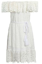 Miguelina Woman Haven Belted Guipure Lace Dress Off White Off White