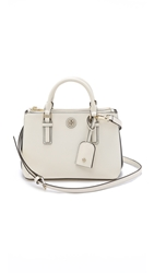 Tory Burch Robinson Colorblock Micro Double Zip Tote New Ivory Tory Navy