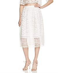 French Connection Freddy Lace Pom Pom Midi Skirt Summer White
