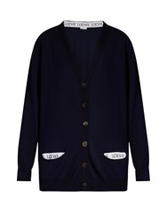 Loewe Logo Trimmed V Neck Wool Blend Cardigan Navy