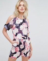 Oasis Exposed Shoulder Floral Print Playsuit Multi
