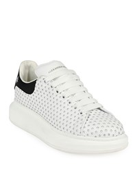Alexander Mcqueen Perforated Star Leather Low Top Platform Sneaker White