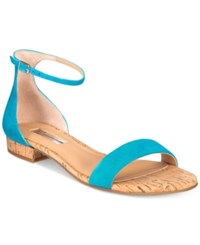 Inc International Concepts Women's Yafaa Flat Sandals Only At Macy's Women's Shoes Cali Teal