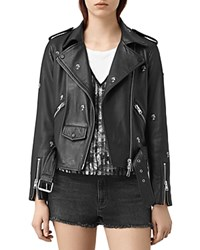 Allsaints Eaves Palm Tree Studded Leather Motorcycle Jacket Black
