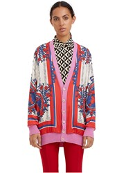 Gucci Oversized Reversible Scarf Print Cardigan Pink