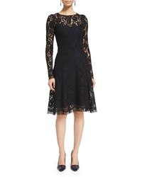 Oscar De La Renta Long Sleeve Lace Overlay Dress Black Sapphire Black Blue Size 0