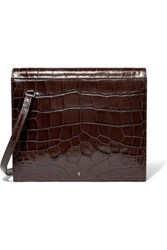 Gu De Edie Croc Effect Leather Shoulder Bag Dark Brown
