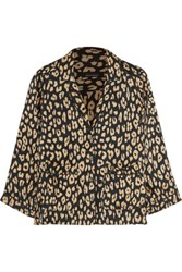 Equipment Kate Moss Lake Leopard Print Washed Silk Pajama Shirt Leopard Print