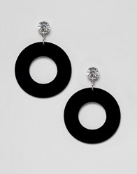 Missguided Diamonte And Resin Circle Drop Earrings In Black