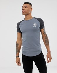 Gym King Muscle T Shirt In Grey With Contrast Sleeves Green
