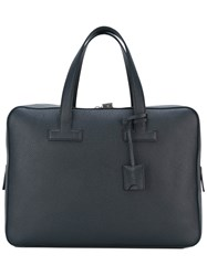 Tom Ford Double Handle Classic Briefcase Men Cotton Calf Leather Polyester Brass One Size Blue