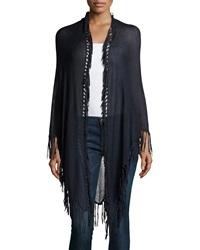Minnie Rose Long Fringe Trim Cotton Wrap Blue Marine